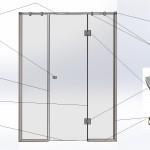 Перегородка душевая прямая № 7 правая (2000х1300)вш Стекло закалённое бесцветное 8мм