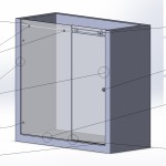 Перегородка душевая прямая с откатной дверью на системе Акваслайдер № 14 (2000х2000) вш. Стекло закалённое бесцветное 8мм
