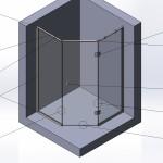 Перегородка душевая трапецевидная № 13 (2000х700х700х700) вшг. Стекло закалённое бесцветное 8мм