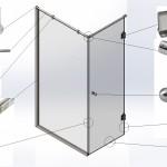 Перегородка душевая угловая № 8 (2000х700х1000)вшг Стекло закалённое бесцветное 8мм