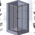 Перегородка душевая угловая с откатной дверью на системе Акваслайдер № 15 (2000х1000х100) вшг. Стекло закалённое бесцветное 8мм